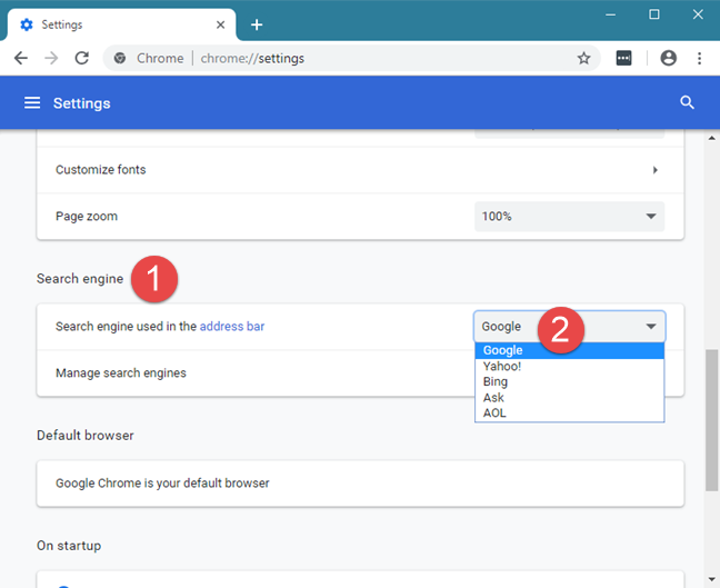 Setting Google as the default search engine in Google Chrome