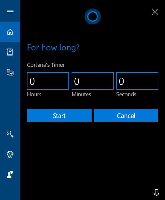 Tell Cortana the duration for your timer