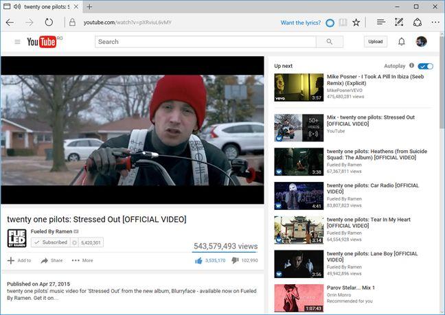 Microsoft Edge, YouTube, Cortana, song, lyrics, get, Windows 10
