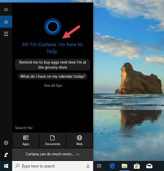 Cortana, Windows 10, setup