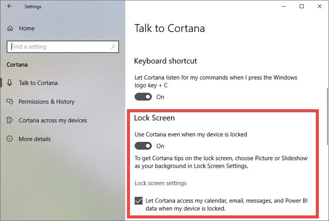 Windows 10, Cortana, setup