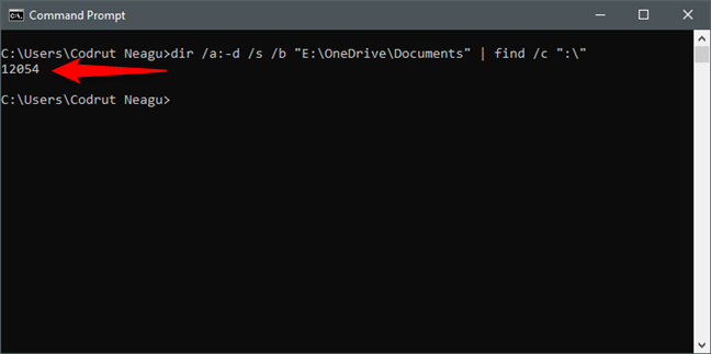 Using Command Prompt (cmd) to count the files in a folder