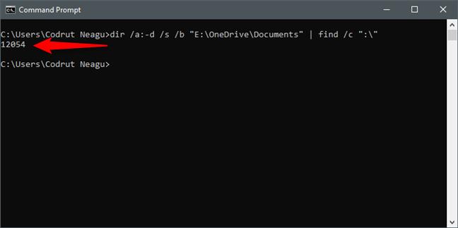 Uso del símbolo del sistema (cmd) para contar los archivos en una carpeta
