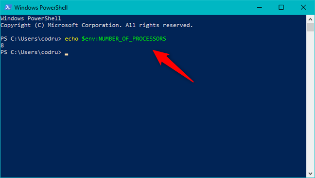 The Number of Processors environment variable in PowerShell