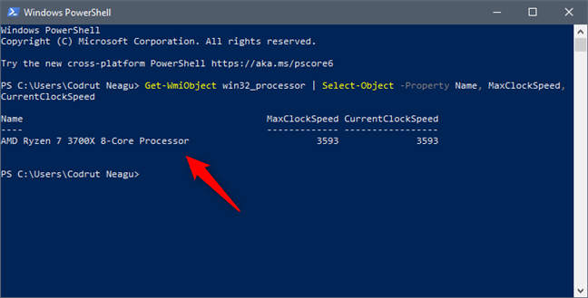 See what processor is inside your PC, using PowerShell