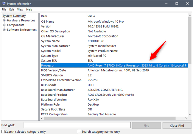 See what processor is inside your PC, using System Information