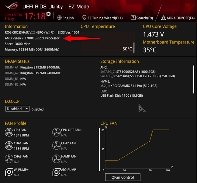 See what processor is inside your PC, in (UEFI) BIOS