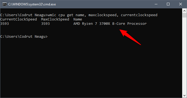 See what processor is inside your PC, using Command Prompt