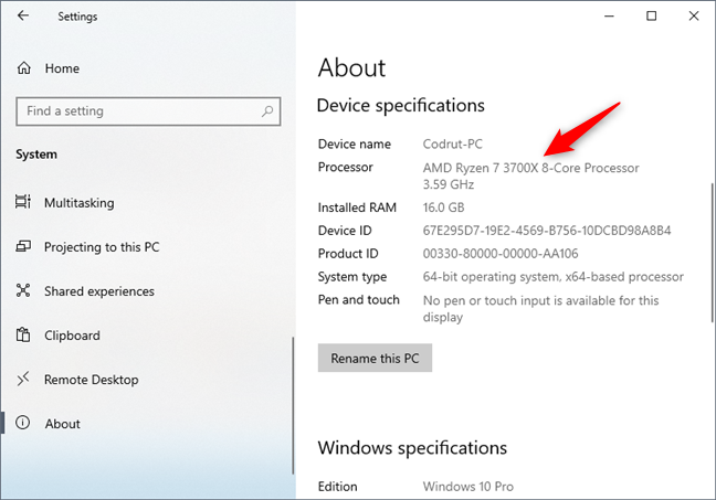 See what processor is inside your PC, using the Windows 10 Settings app