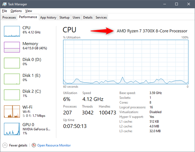 See what processor is inside your PC, using the Task Manager