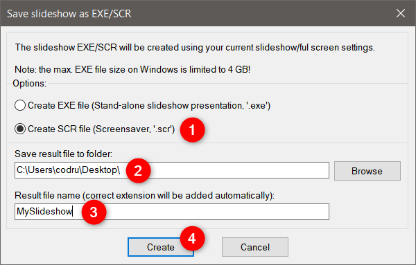 Choosing to create SCR file