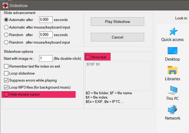 Hide mouse cursor and Show text settings