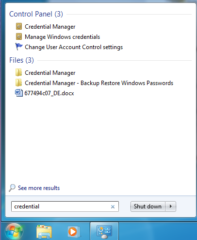 Windows, Credential Manager
