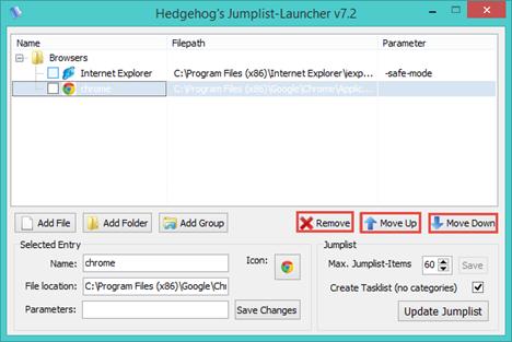 Jumplist Launcher, custom, jumplist, taksbar, Windows