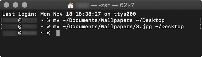 The commands used in the Terminal app to move a folder and a file