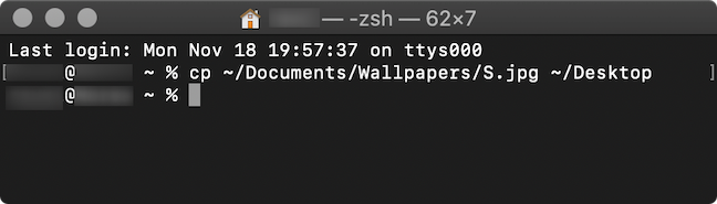 The command used in the Terminal app to copy a file