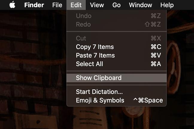 The Edit menu has a Show Clipboard option