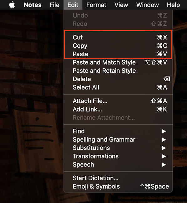 The Edit menu of text editors can be used to cut, copy, and paste