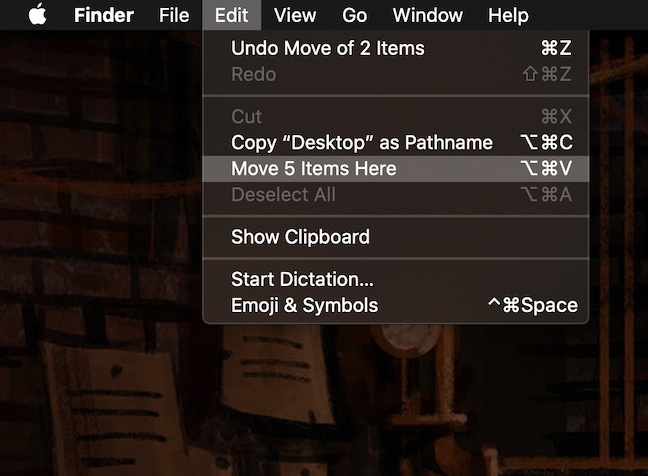 Pressing the Option key changes what is displayed in the Edit menu