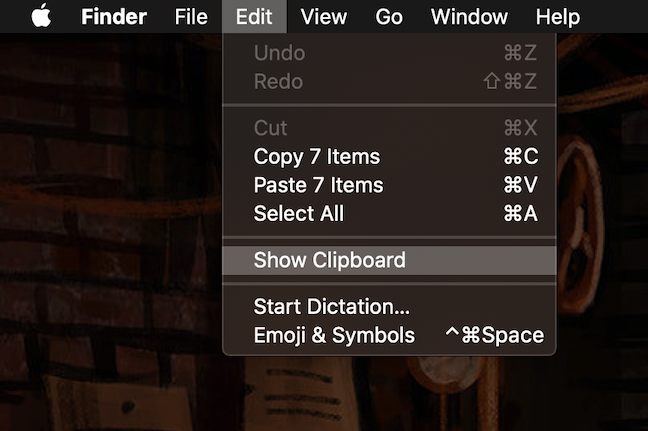 El menú Editar tiene una opción Mostrar portapapeles