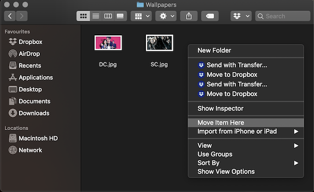 Press Option on your keyboard to change the options in the contextual menu