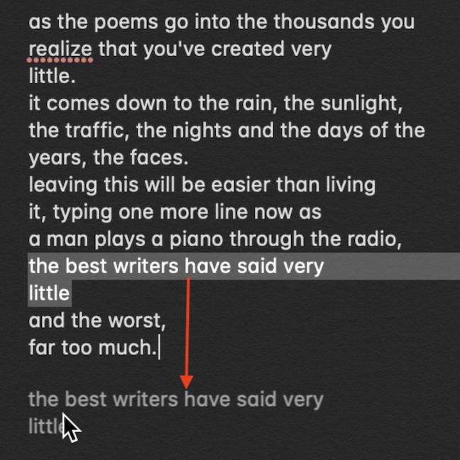 El texto seleccionado se muestra junto a su cursor mientras arrastra
