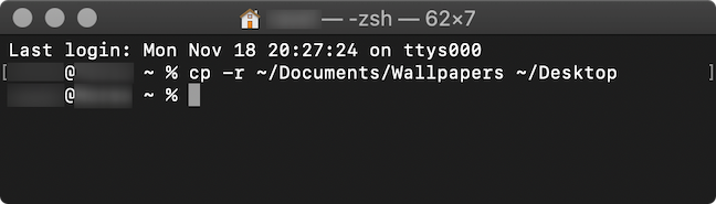 The command used in the Terminal app to copy a folder