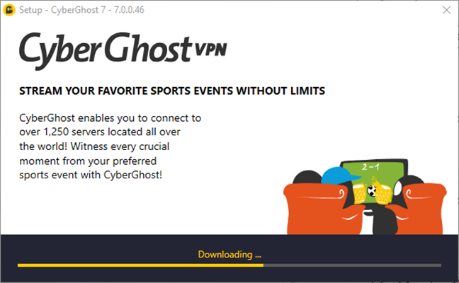 The installation of CyberGhost VPN on a Windows PC