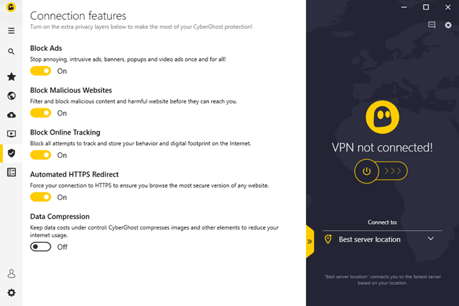 The Connection features available in CyberGhost VPN