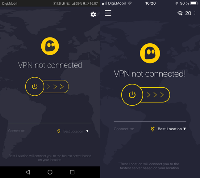 Connecting to a VPN server in CyberGhost VPN for Android and iOS