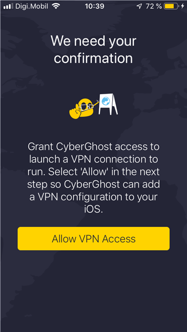 The installation of CyberGhost VPN app for iOS