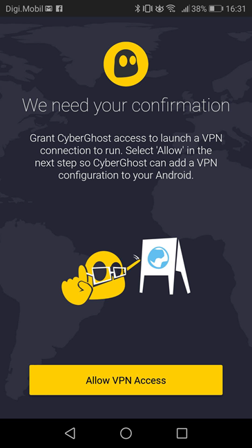 The CyberGhost VPN app for Android