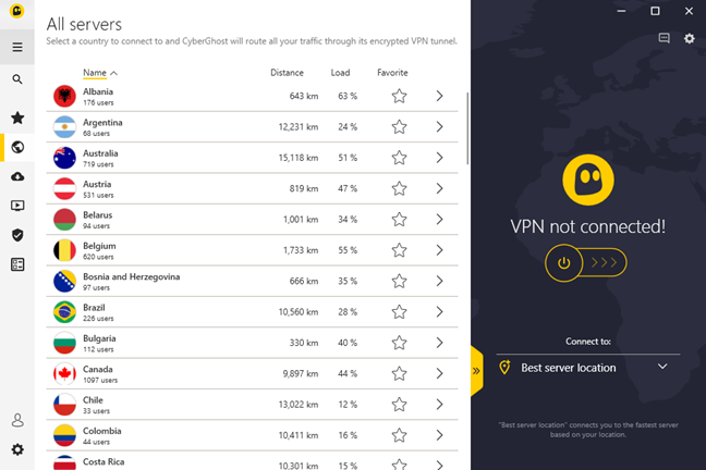 The list of available servers and countries in CyberGhost VPN