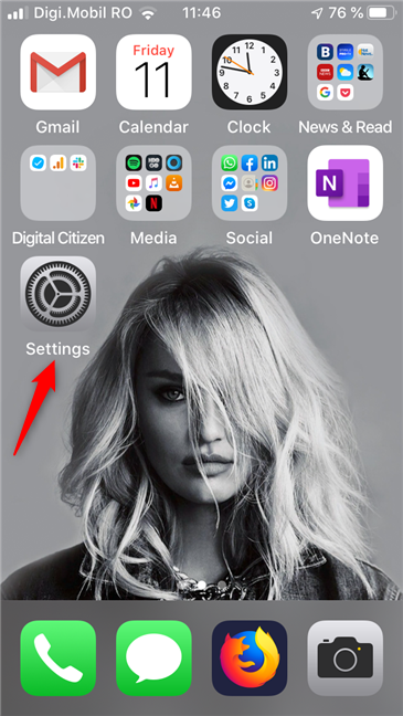The Settings app on an iPhone