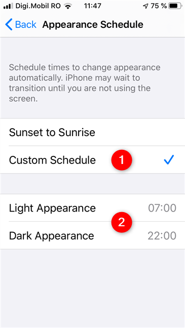 Dark Mode and Light Mode turn on automatically on a Custom Schedule