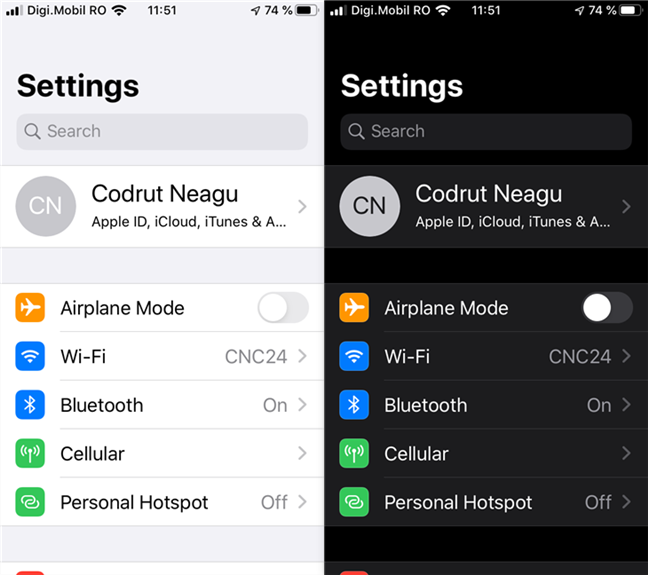 The iPhone Settings using Light and Dark appearance