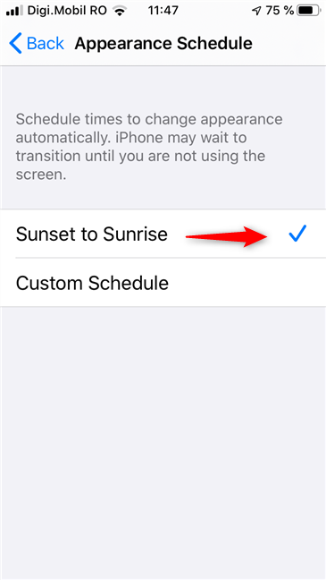 Dark Mode is switched on automatically between from Sunset to Sunrise