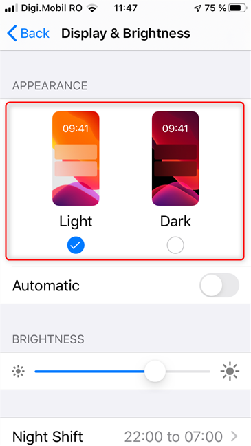 The Appearance section lets you choose between Light and Dark