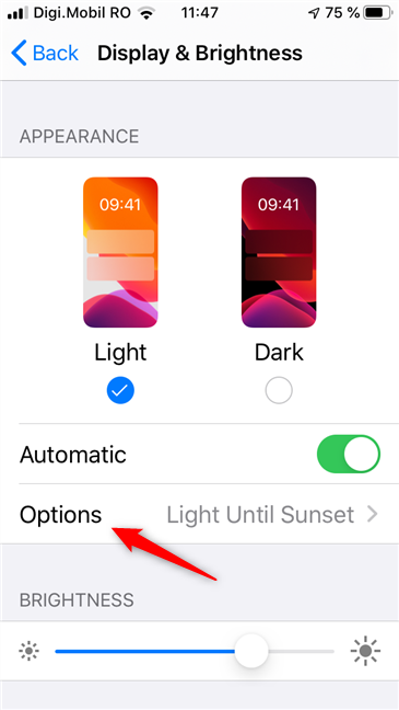 Options for the automatic switch between the Light and Dark Mode