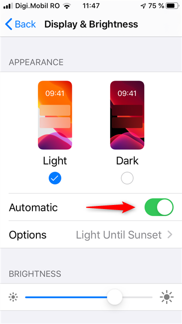 Turning Light and Dark Modes on automatically