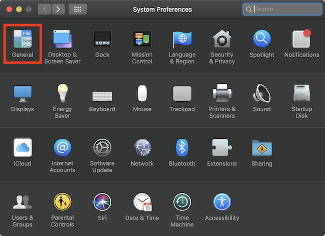 The General option in the System Preferences window