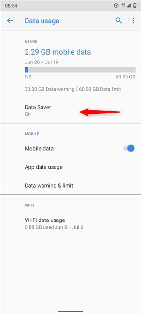 The Data Saver status is On