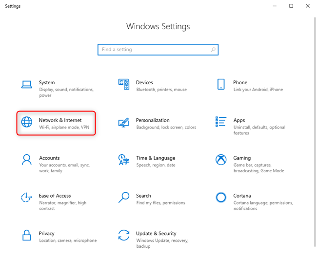 Windows 10 Settings - Go to Network & Internet