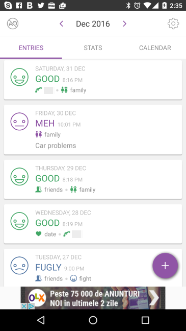 Daylio, mood, tracker, log