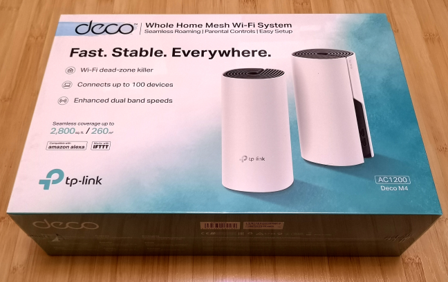 The packaging of TP-Link Deco M4