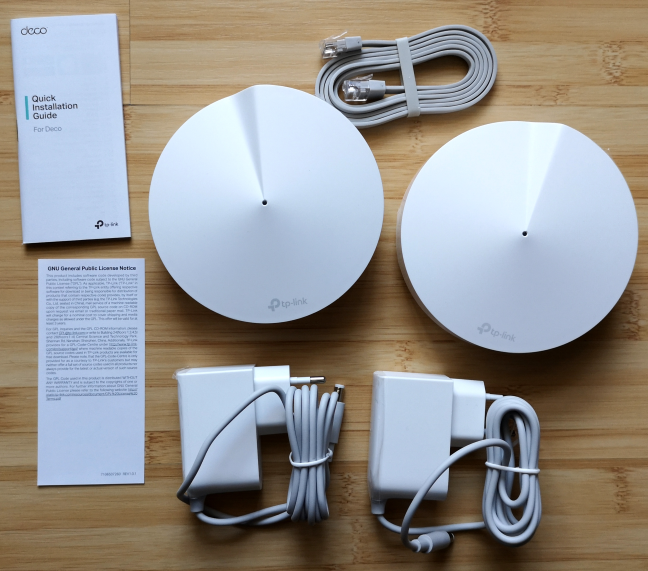 What is inside the packaging of the TP-Link Deco M5