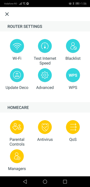 The settings included in the TP-Link Deco mobile app