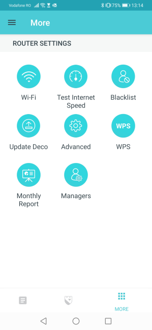 The settings available in the TP-Link Deco app