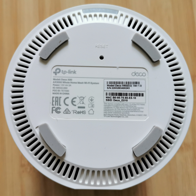 The bottom of the TP-Link Deco X60