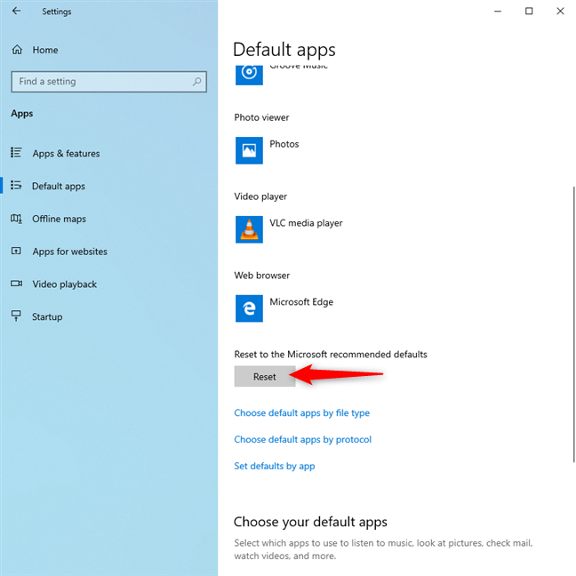 Reset the default apps in Windows 10 to Microsoft's defaults